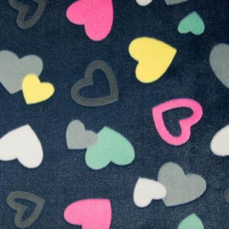 Tissu Polaire microfibre Imprime Coeur Fond Navy