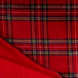 Tissu Polaire Microfibre Double Face Carreau Rouge uni