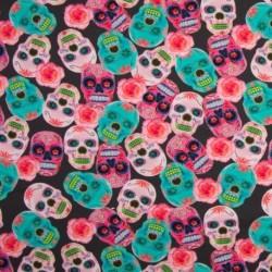 Tissu Digital Print Tête de Mort Multico
