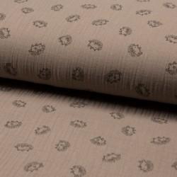Tissu Double Gaze Imprimé Hérisson Taupe