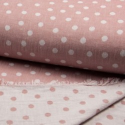 Tissu Jacquard Double Face Pois Rose