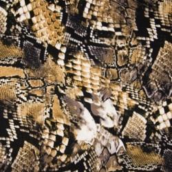 Tissu Viscose Twill Imprime Beige marron noir