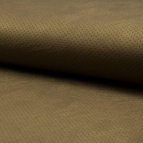 Tissu Simili Cuir Point Percé Bronze