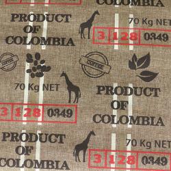 Tissu Toile de Jute Imprimé Coffee Choco rouge