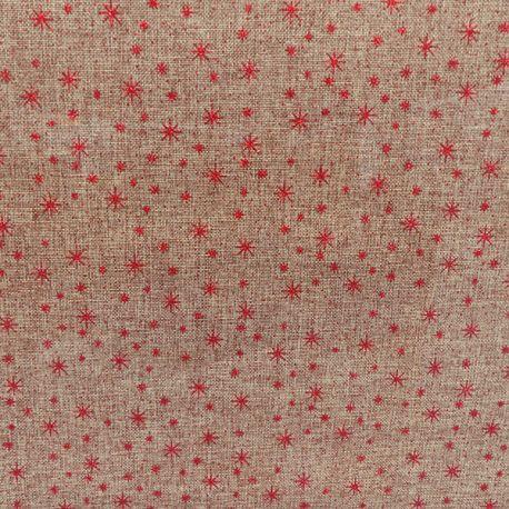 Tissu Toile de Jute Imprimé Etoile Rouge