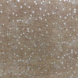 Tissu Toile de Jute Imprimé Etoile Argent