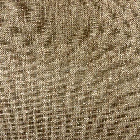 Tissu Toile de Jute Imprime Scintillant Or