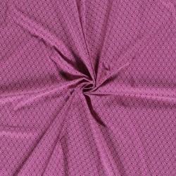 Tissu Popeline Imprimé Géométrique Fond Rose