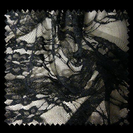 Tissu Dentelle Fleur Noir