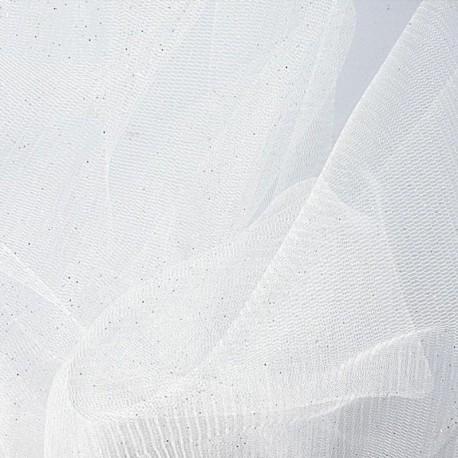 Tissu Tulle Paillette Blanc
