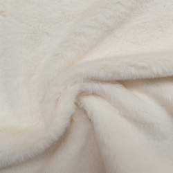 Tissu Vison Fausse Fourrure Uni Blanc