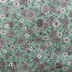 Tissu Florale Cretonne Amande