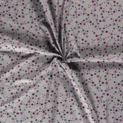 Tissu Coton Imprimé Flocon Fond Gris Clair