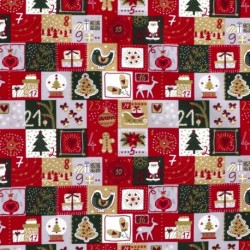 Tissu Coton Imprimé Calendrier Rouge