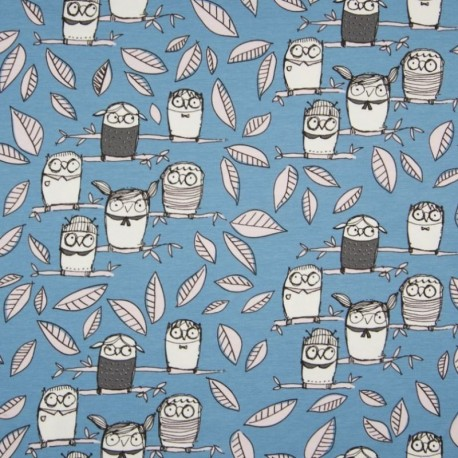 Tissu Coton Jersey Imprimé Hiboux Bleu
