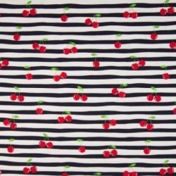 Tissu Coton Jersey Imprimé Cerise Rayure