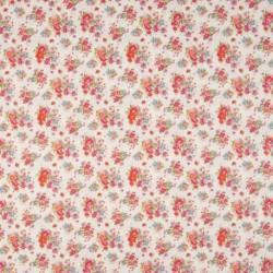 Tissu Coton Imprimé Fleur Ecru rouge