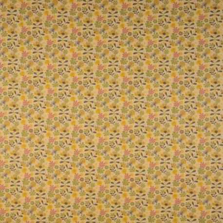 Tissu Coton Imprimé Bio Fleur Jaune