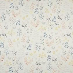 Tissu Coton Imprimé Bio Fleur Ecru