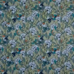 Tissu Coton Imprimé Fleur Menthe