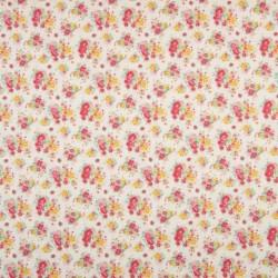 Tissu Coton Imprimé Fleur Ecru orange