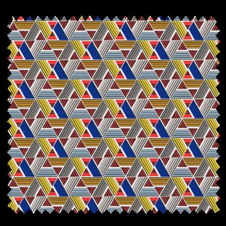 Tissu Imprimé Papyrus Azur Perle