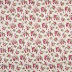 Tissu Coton Imprimé Fleur Ecru fuchsia