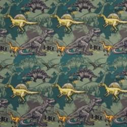 Tissu Coton Jersey Imprimé Dinosaure Vert