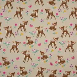 Tissu Coton Jersey Imprimé Bambi Sable