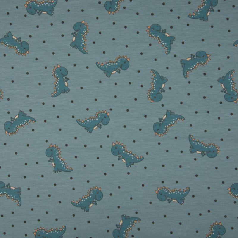 Tissu Coton Jersey Imprimé Dragon Vert