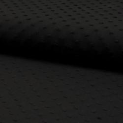 Tissu Plumetis Voile De Coton Noir