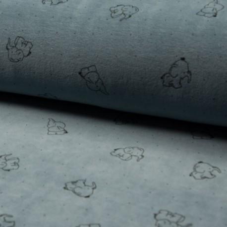 Tissu Nicky Velours Imprimé Elephant Bleu