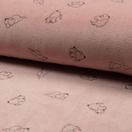 Tissu Nicky Velours Imprimé Elephant Rose