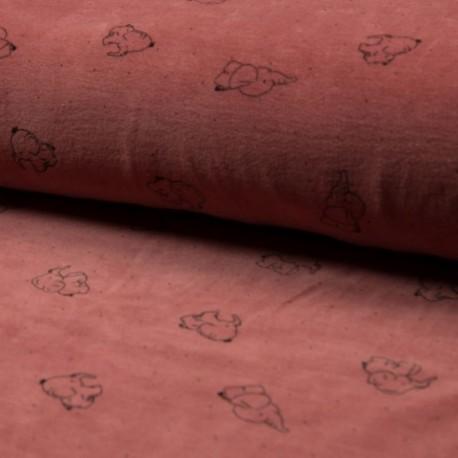 Tissu Nicky Velours Imprimé Elephant Terracotta