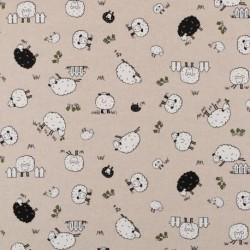Tissu Mouton Fond Coloris Lin
