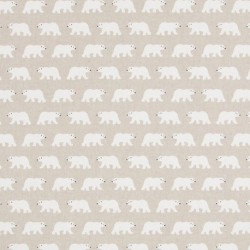 Tissu Ours Blanc Fond Coloris Lin