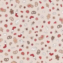 Tissu Christmas Fond Coloris Lin