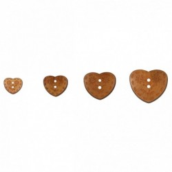 Bouton bois coeur fleuris