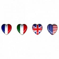 Bouton coeur drapeau