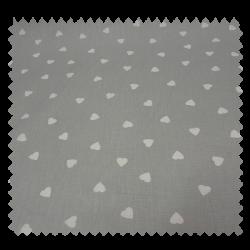 Tissu Cretonne Enduit Semis De Coeur Gris Blanc