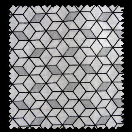 Tissu Imprimé Cube Argent