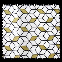 Tissu Imprimé Cube Or