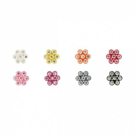 Bouton fleurs strass