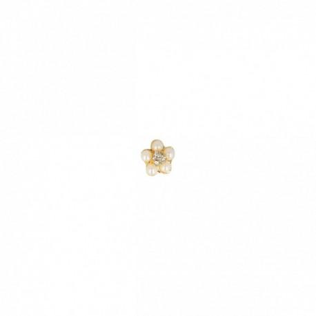 Bouton petite fleur avec perle