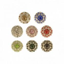 Bouton argent avec strass coloré