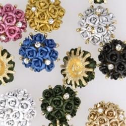 Bouton métal avec bouquet