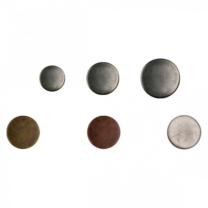 Bouton rond métal brossé
