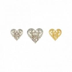 Bouton métal coeur fleuri