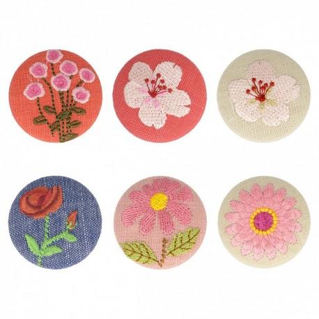 Bouton tissu fleur