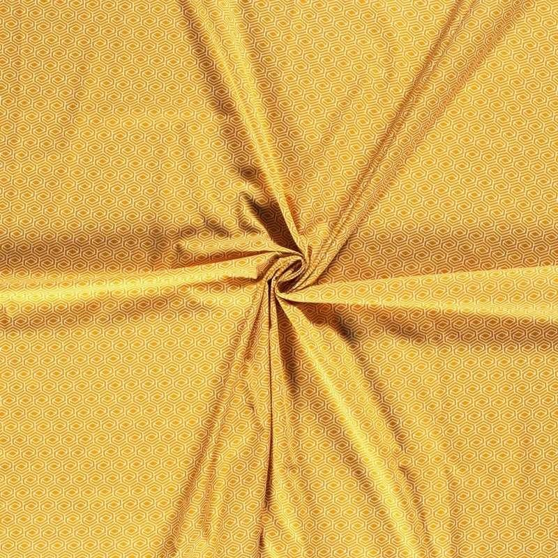 Tissu Popeline Imprimé Géometrique Fond Jaune